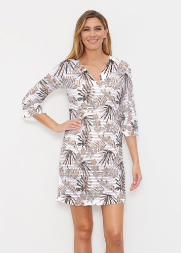 Flat Tropical Neutral (7625) ~ Banded 3/4 Sleeve Cover-up Dress