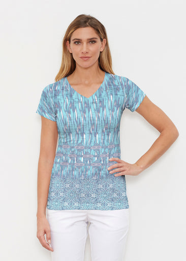 Spirited Aqua (7628) ~ Signature Cap Sleeve V-Neck Shirt