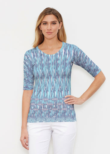 Spirited Aqua (7628) ~ Elbow Sleeve Crew Shirt