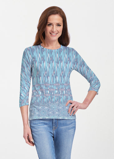Spirited Aqua (7628) ~ 3/4 Sleeve Crew