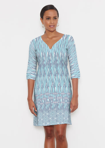 Spirited Aqua (7628) ~ Classic 3/4 Sleeve Sweet Heart V-Neck Dress