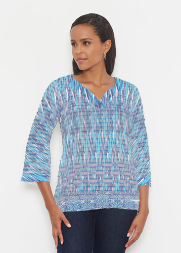 Spirited Aqua (7628) ~ Banded 3/4 Bell-Sleeve V-Neck Tunic