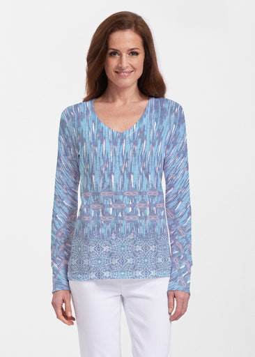 Spirited Aqua (7628) ~ Thermal Long Sleeve V-Neck Shirt