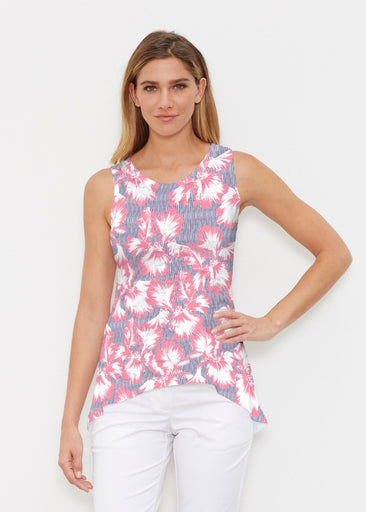 Graphic Floral Stripe (7645) ~ Signature High-low Tank