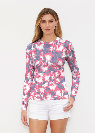 Graphic Floral Stripe (7645) ~ Long Sleeve Rash Guard