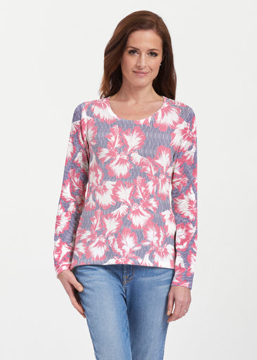 Graphic Floral Stripe (7645) ~ Texture Mix Long Sleeve
