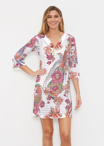 Mandarin Bird (7646) ~ Banded 3/4 Sleeve Cover-up Dress