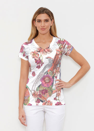 Mandarin Bird (7646) ~ Signature Cap Sleeve V-Neck Shirt