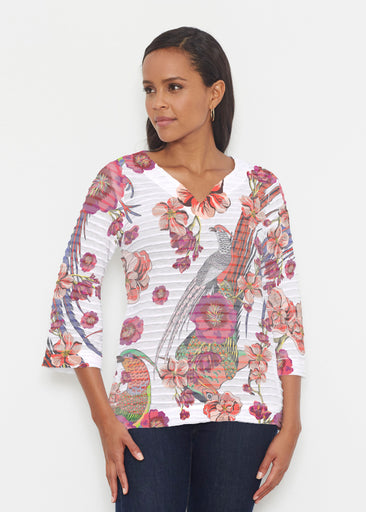 Mandarin Bird (7646) ~ Banded 3/4 Bell-Sleeve V-Neck Tunic