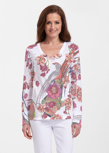 Mandarin Bird (7646) ~ Thermal Long Sleeve V-Neck Shirt