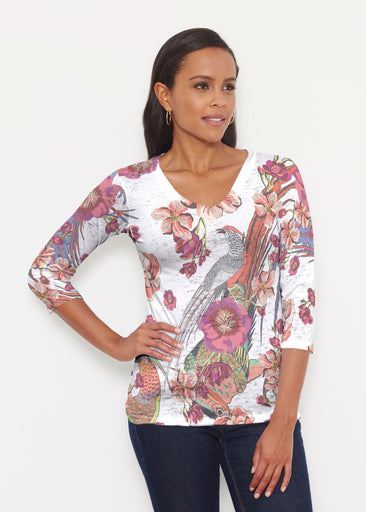 Mandarin Bird (7646) ~ Signature 3/4 V-Neck Shirt