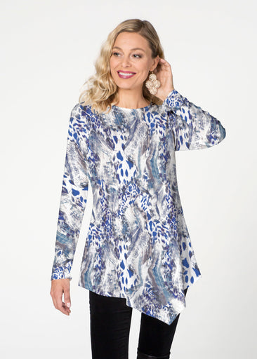Abstract Leopard (7647) ~ Asymmetrical French Terry Tunic