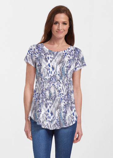 Abstract Leopard (7647) ~ Signature Short Sleeve Scoop Neck Flowy Tunic