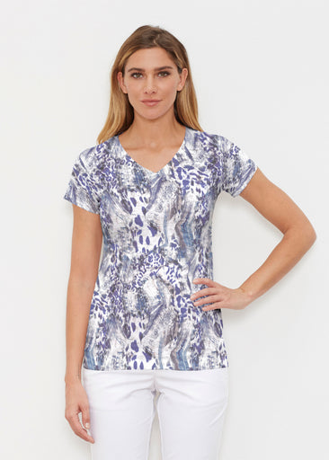Abstract Leopard (7647) ~ Signature Cap Sleeve V-Neck Shirt