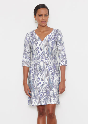 Abstract Leopard (7647) ~ Classic 3/4 Sleeve Sweet Heart V-Neck Dress
