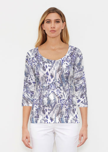 Abstract Leopard (7647) ~ Signature 3/4 Sleeve Scoop Shirt