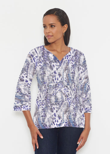 Abstract Leopard (7647) ~ Banded 3/4 Bell-Sleeve V-Neck Tunic