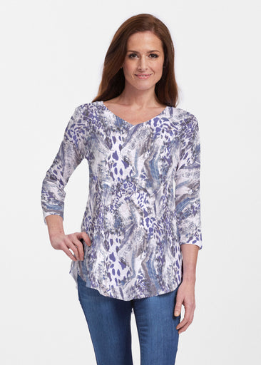 Abstract Leopard (7647) ~ V-neck Flowy Tunic