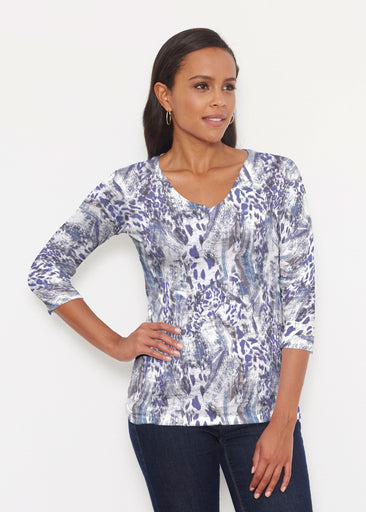 Abstract Leopard (7647) ~ Signature 3/4 V-Neck Shirt