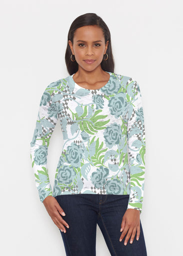 Abstract Rose Garden (7648) ~ Signature Long Sleeve Crew Shirt