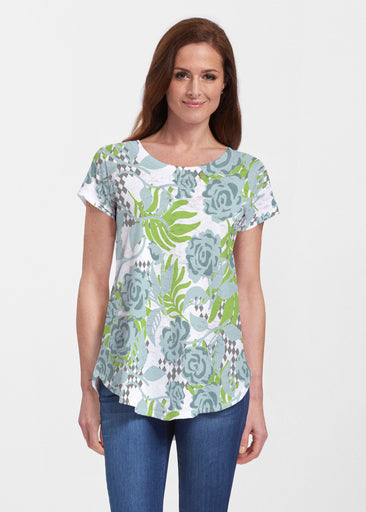 Abstract Rose Garden (7648) ~ Signature Short Sleeve Scoop Neck Flowy Tunic