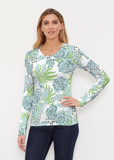 Abstract Rose Garden (7648) ~ Thermal Long Sleeve Crew Shirt