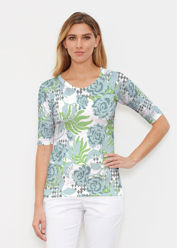 Abstract Rose Garden (7648) ~ Signature Elbow Sleeve Crew Shirt