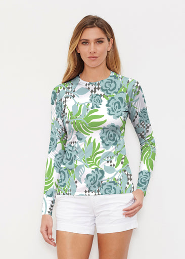 Abstract Rose Garden (7648) ~ Long Sleeve Rash Guard
