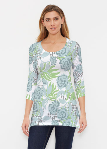 Abstract Rose Garden (7648) ~ Buttersoft 3/4 Sleeve Tunic