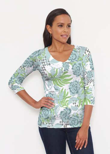 Abstract Rose Garden (7648) ~ Signature 3/4 V-Neck Shirt