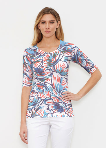 Floral Brush Marks (7649) ~ Elbow Sleeve Crew Shirt