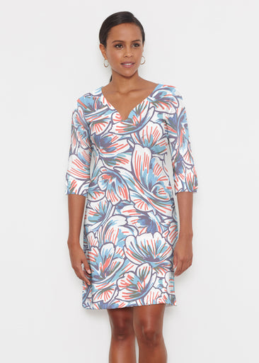 Floral Brush Marks (7649) ~ Classic 3/4 Sleeve Sweet Heart V-Neck Dress
