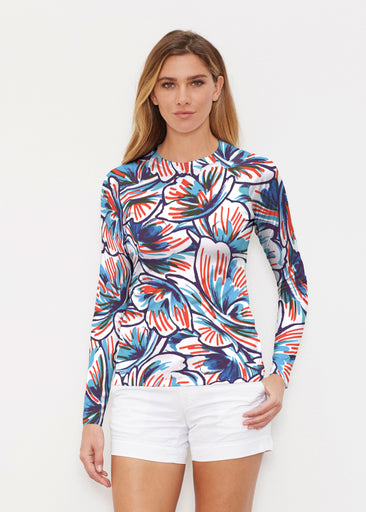 Floral Brush Marks (7649) ~ Long Sleeve Rash Guard