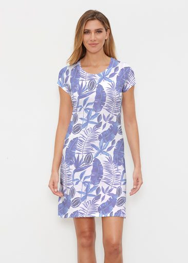 Painted Tropics Blue (7650) ~ Classic Crew Dress