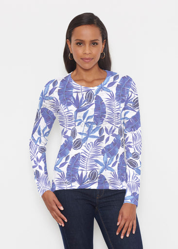 Painted Tropics Blue (7650) ~ Signature Long Sleeve Crew Shirt
