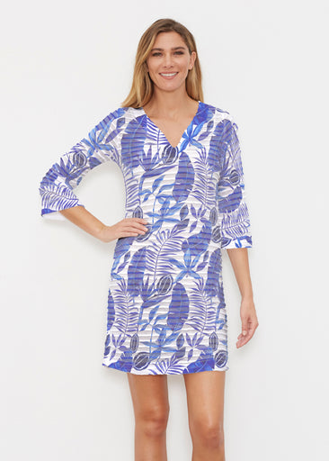 Painted Tropics Blue (7650) ~ Banded 3/4 Sleeve Cover-up Dress