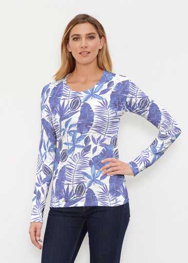 Painted Tropics Blue (7650) ~ Thermal Long Sleeve Crew Shirt