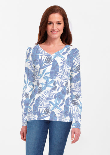 Painted Tropics Blue (7650) ~ Classic V-neck Long Sleeve Top