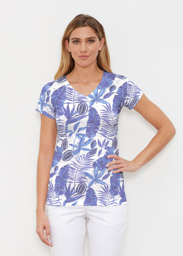 Painted Tropics Blue (7650) ~ Signature Cap Sleeve V-Neck Shirt