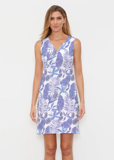 Painted Tropics Blue (7650) ~ Classic Sleeveless Dress