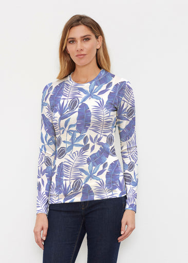 Painted Tropics Blue (7650) ~ Butterknit Long Sleeve Crew Top