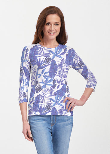 Painted Tropics Blue (7650) ~ Premium 3/4 Sleeve Crew