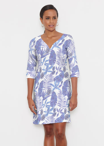 Painted Tropics Blue (7650) ~ Classic 3/4 Sleeve Sweet Heart V-Neck Dress