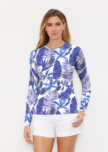 Painted Tropics Blue (7650) ~ Long Sleeve Rash Guard