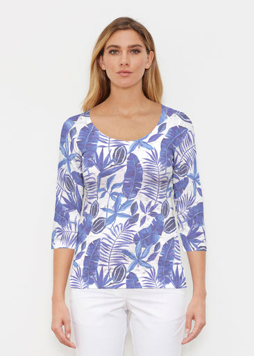 Painted Tropics Blue (7650) ~ Signature 3/4 Sleeve Scoop Shirt