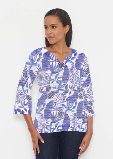 Painted Tropics Blue (7650) ~ Banded 3/4 Bell-Sleeve V-Neck Tunic