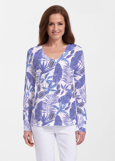 Painted Tropics Blue (7650) ~ Thermal Long Sleeve V-Neck Shirt