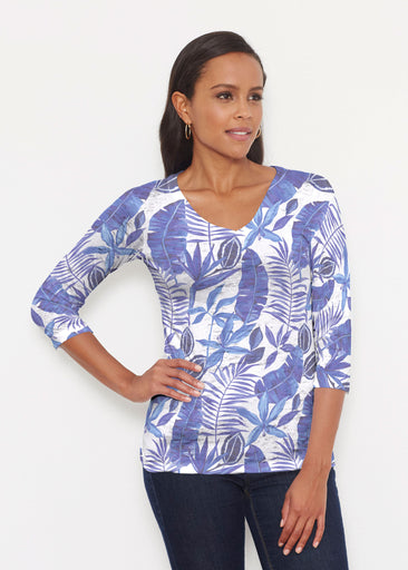 Painted Tropics Blue (7650) ~ Signature 3/4 V-Neck Shirt