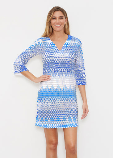 Echo Blue (7657) ~ Banded 3/4 Sleeve Cover-up Dress