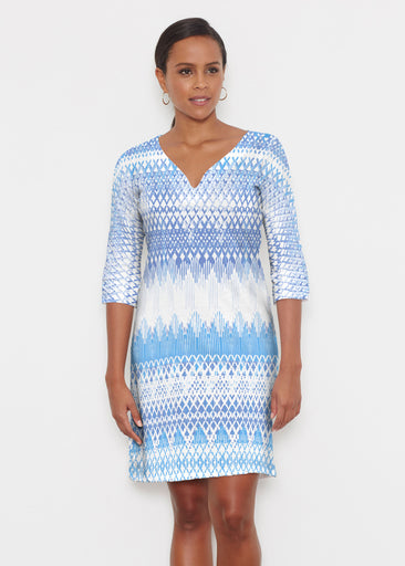 Echo Blue (7657) ~ Classic 3/4 Sleeve Sweet Heart V-Neck Dress